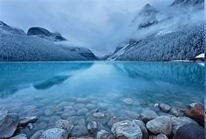 Landscape, Nature, Lake, Mountain, Snow, Forest, Stones