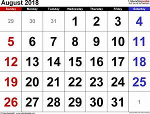 Calender August August 2018 Calendars For Word Excel Pdf