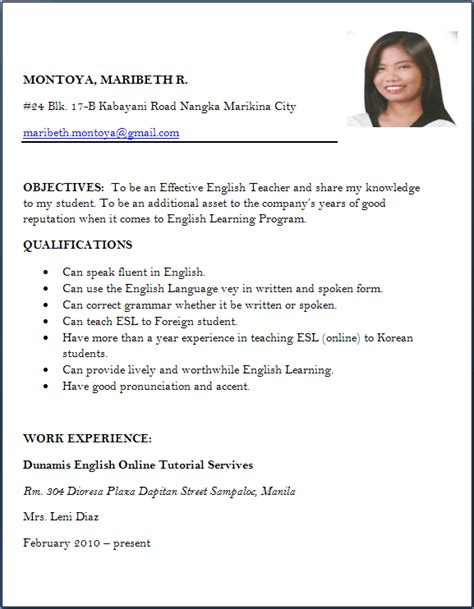 Type Of Resume For Teachers by 4 Cv Format For Fresher Teachers Packaging Clerks