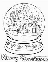 Coloring Snow Globe Printable Popular sketch template