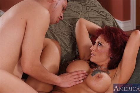 Busty Redhead Milf Bitch Removes Her Black Lingerie And