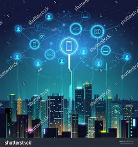 Night City Social Digital Life Stock Vector 596750729 ...