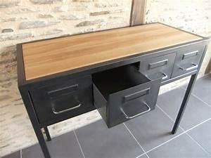 Console Avec Tiroir : console industrielle acier ch ne sur mesure avec tiroirs ~ Teatrodelosmanantiales.com Idées de Décoration