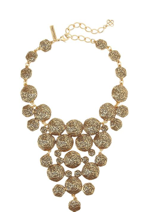 swirl chain necklace lyst oscar de la renta swirl gold plated necklace in