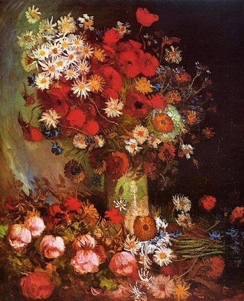 Vase With Poppies Vincent Gogh by Vase With Poppies Cornflowers Peonies And Chrysanthemums