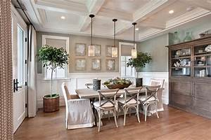 Houzz dining room beach style with white wood pendant