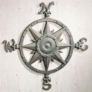 Indoor outdoor nautical compass metal wall art