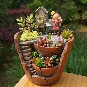1 pc Criativo Resina Decorativo Suculentas Vaso de Plantas