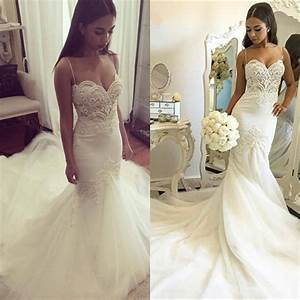 Sexy Mermaid Wedding Dress 2016 White Tulle Beaded Lace ...