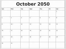 October 2050 Blank Schedule Template