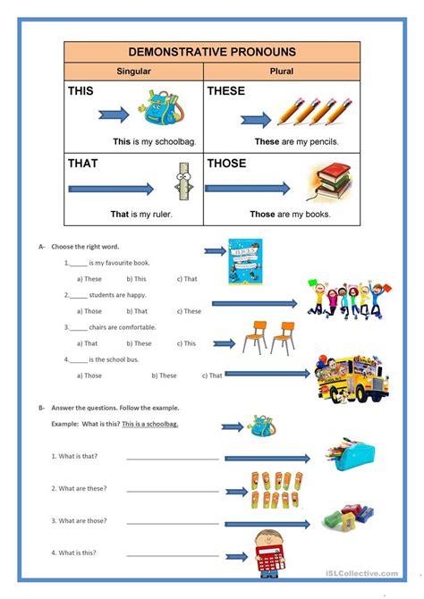 demonstrative pronouns worksheet free esl printable