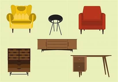 Mid Century Vector Furnitures Clipart Modern Furniture