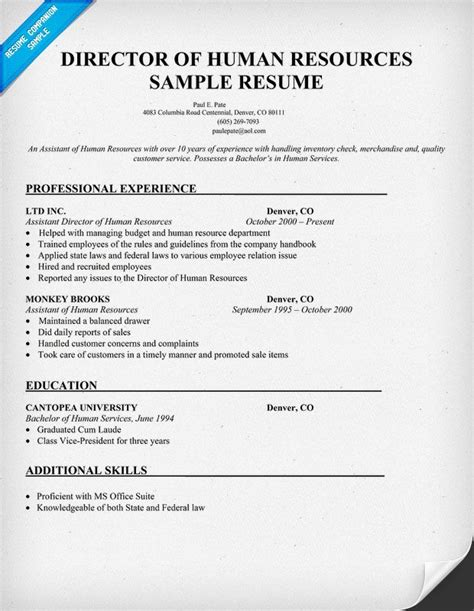 Cv Of Hr Generalist by Director Of Human Resources Sle Resume Resumecompanion