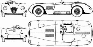 1951 jaguar c type cabriolet blueprints free outlines With 1955 jaguar e type