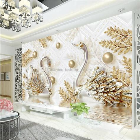 luxury wallpaper jewelry swan wall mural custom