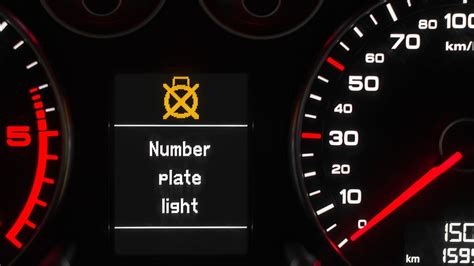 audi  number plate light warning