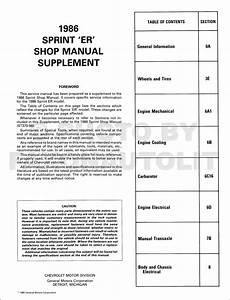 1986 Chevy Sprint Er Repair Shop Manual Original Supplement