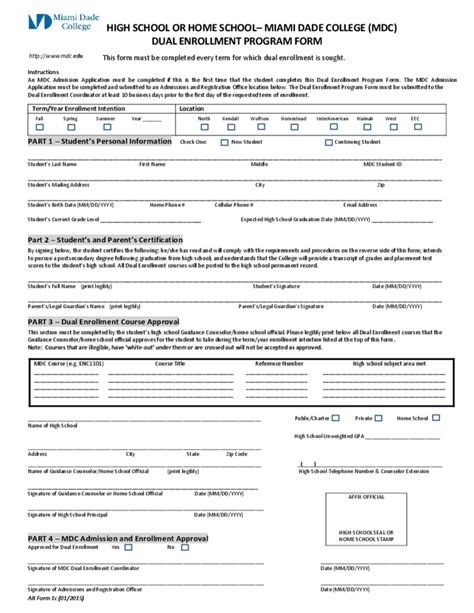 miami dade college application form for dual enrollment