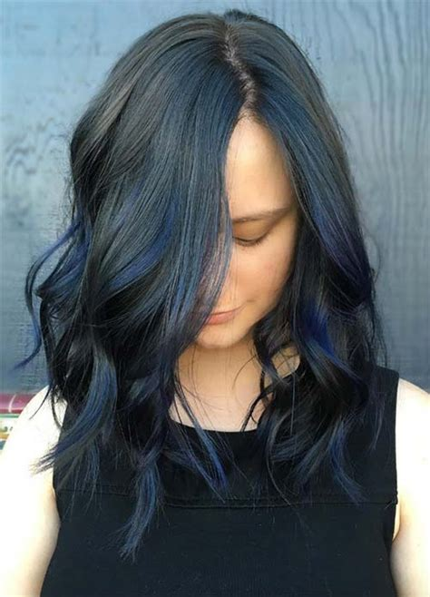 Navy Blue Lowlights by 50 Magically Blue Denim Hair Colors You Will