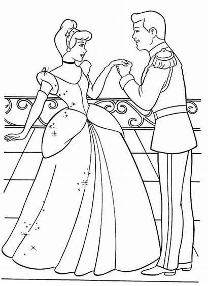 Coloring Cinderella Pages Disney Princess Prince Charming