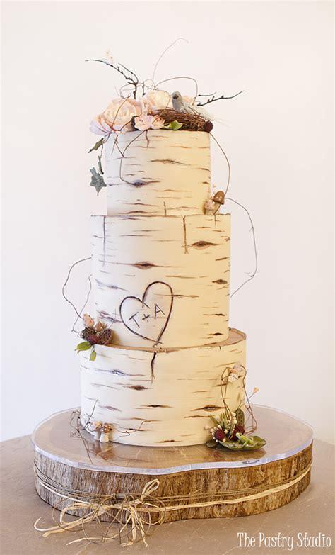 birch wood wedding cake custom designed   pastry