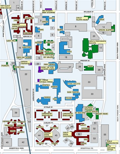 Central Michigan University Map - Mount Pleasant Mich ...