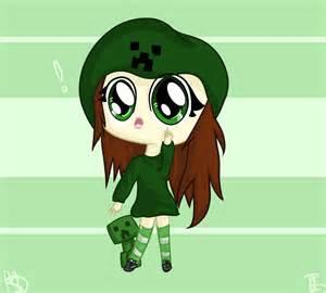 Cute Chibi Minecraft Creeper Girl