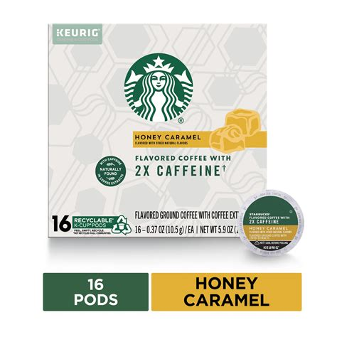5.0average based on 7 product ratings. Starbucks Flavored K-Cup Coffee Pods with 2X Caffeine — Honey Caramel for Keurig Brewers — 1 box ...