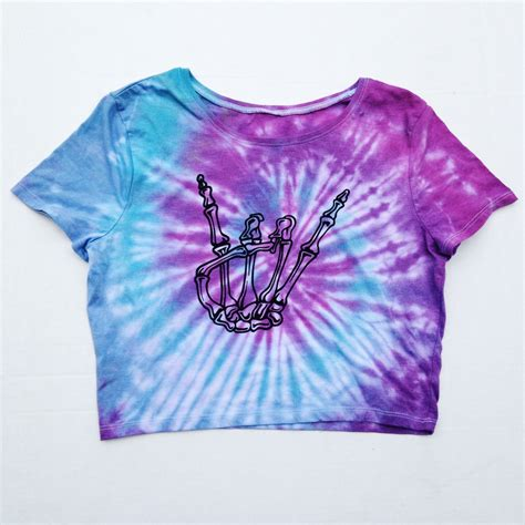 tie dye blouse tie dye skeleton crop top shirt purple blue by