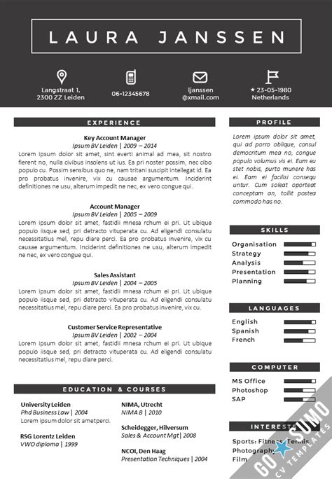 resume template in word and powerpoint matching cover