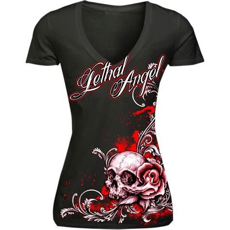 lethal threat floral skull fitted womens  shirt