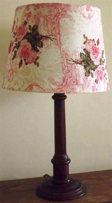 vintage pink rose lampshade decoupage shabby chic postcard carte postal french script