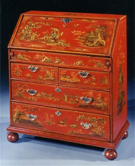 chinoiserie red japanned drop front deskfabulous