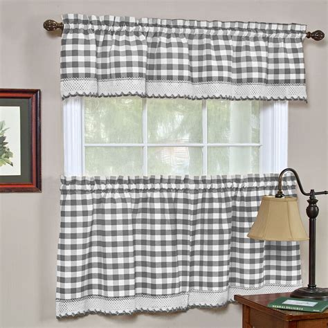 buffalo check gingham kitchen curtains tiers  valance