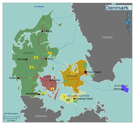large regions map  denmark denmark europe mapsland