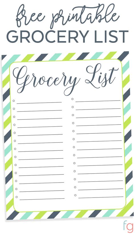 List Template Free Printable Grocery List Free Organizing Printable