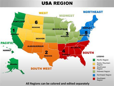 usa south west region country editable powerpoint maps