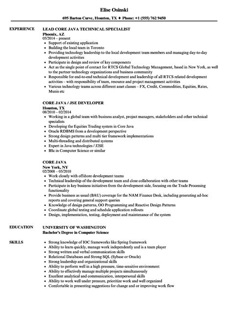 core java resume sles velvet jobs