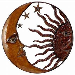 metal sun moon wall decor with antique brown look With kitchen cabinets lowes with celestial sun wall art