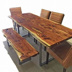 Live Edge Dining Table and Matching Bench - Horizon Home