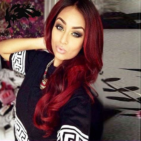 2016 Fashion Ombre Red Hair Long Wave Wigs Synthetic Lace