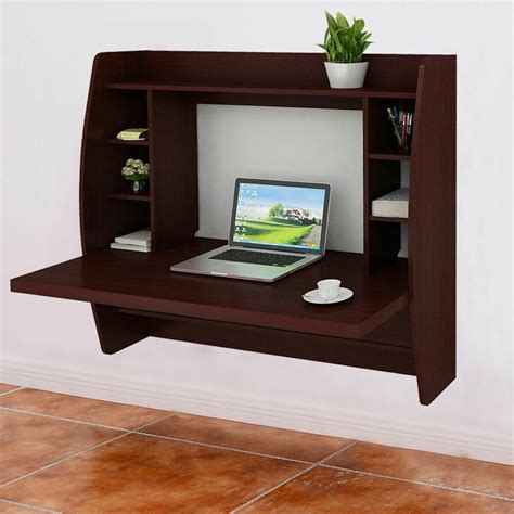 walnut wall mount floating computer desk storage  shelf