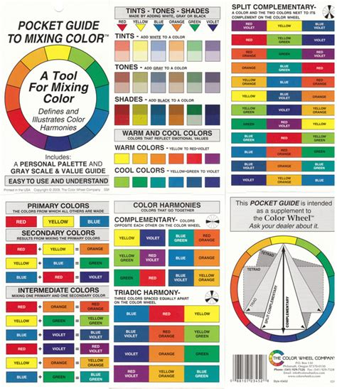 color wheel pocket guide to mixing color artist paint color wheel ebay