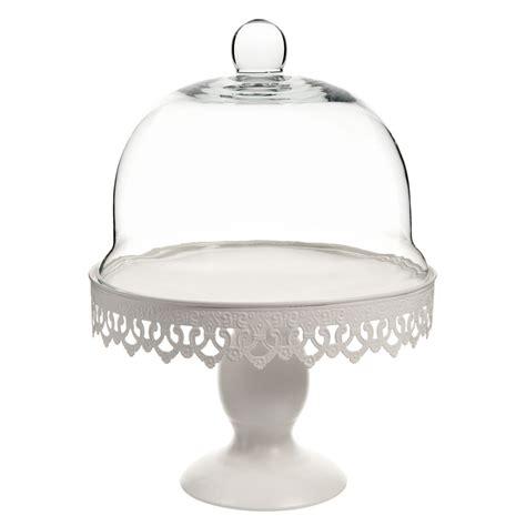 cloche sur pied en verre blanche h 28 cm maisons du monde