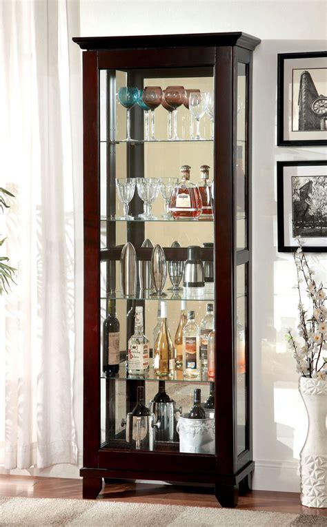 ludden dark walnut curio cabinet from furniture of america
