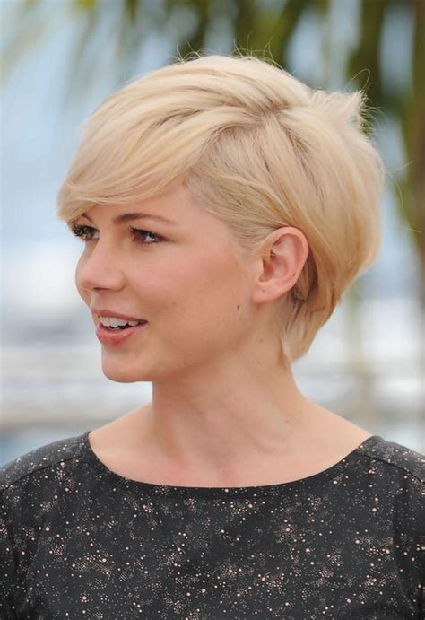 side view  michelle williams cute short side parted haircut styles weekly