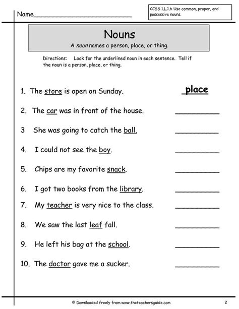 nouns grade  worksheets google search kelina