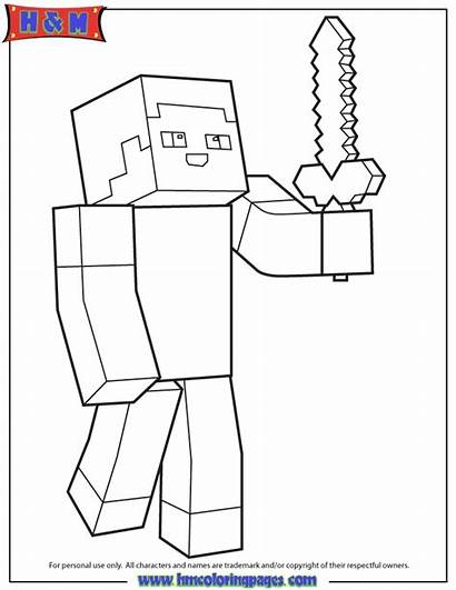 Minecraft Coloring Steve Creeper Sword Person Holding