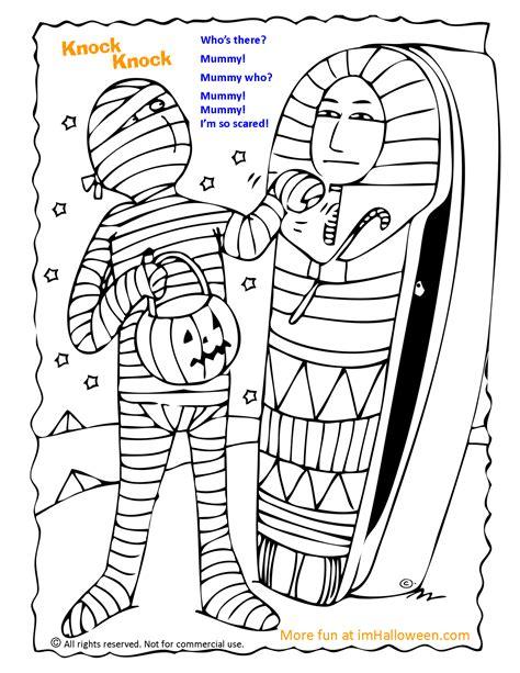 mummy knock knock joke coloring page