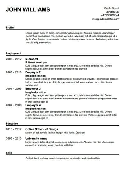 Free Printable Resumes by Free Printable Resume Templates Learnhowtoloseweight Net